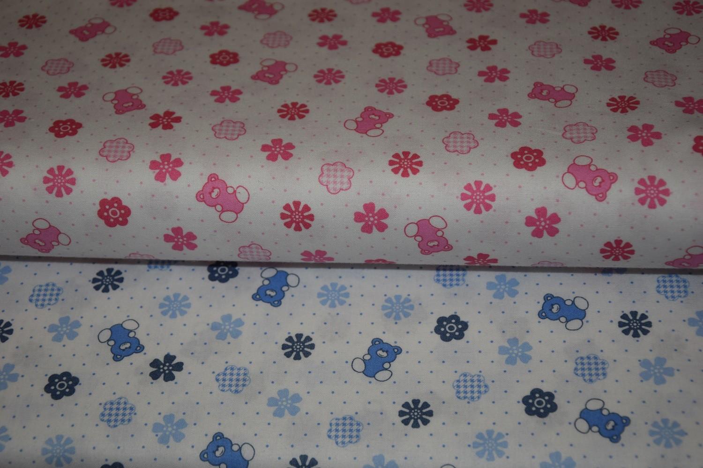 ccf1019b5a Cotone orsetti fiori e pois Tessuto in puro cotone stampato con ors...