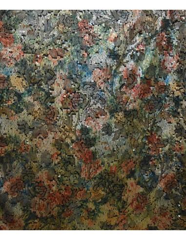 Paillettes Multicolor Disegno Floreale